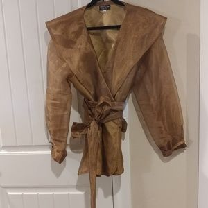 Formal wrap jacket with stone embellished cuff